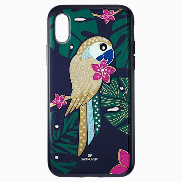 Etui na smartfona z ramką ochronną z tropikalną papugą, iPhone® XS Max, ciemne wielokolorowe - Swarovski, 5533973