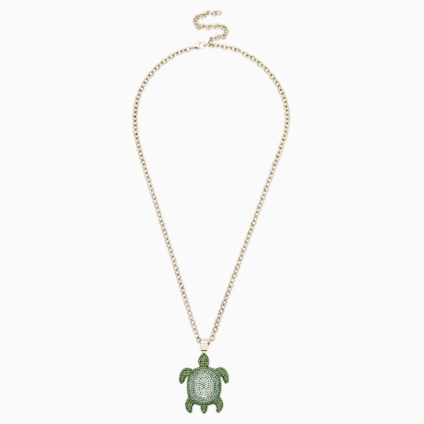 Mustique Sea Life Turtle Pendant, Small, Green, Gold-tone plated - Swarovski, 5534341