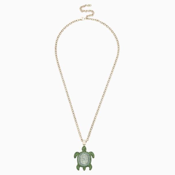 Mustique Sea Life Turtle Pendant, Small, Green, Gold-tone plated - Swarovski, 5534341