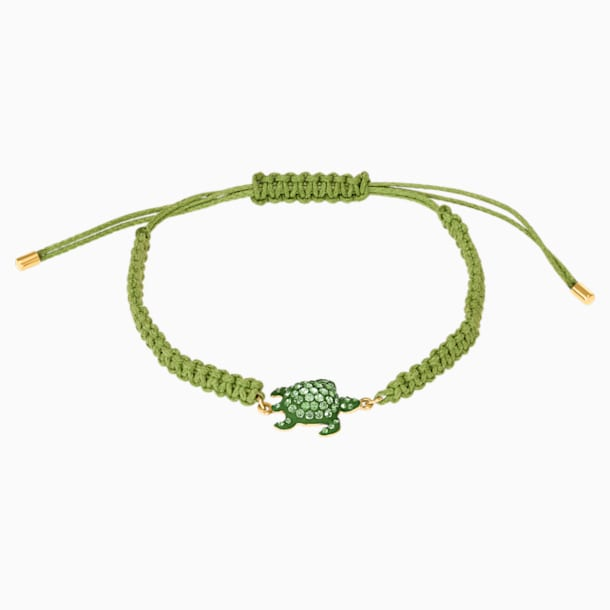 Mustique Sea Life Turtle Bracelet, Green, Gold-tone plated - Swarovski, 5534344