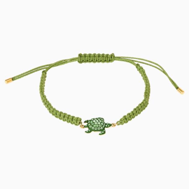 Pulsera Mustique Sea Life Turtle, verde, baño tono oro - Swarovski, 5534344