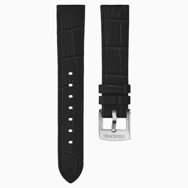 20mm Watch strap, Leather with stitching, Black, Stainless Steel - Swarovski, 5534393