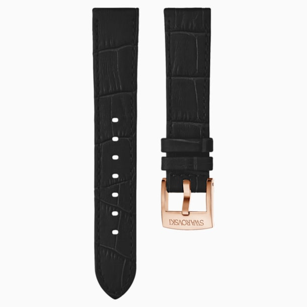 20mm Watch strap, Leather with stitching, Black, Rose-gold tone PVD - Swarovski, 5534395