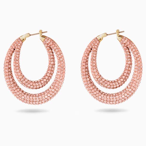 Tigris Hoop Pierced Earrings, Pink, Gold-tone plated - Swarovski, 5534512