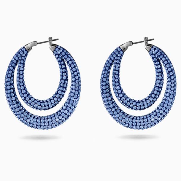 Tigris Hoop Pierced Earrings, Blue, Ruthenium plated - Swarovski, 5534514