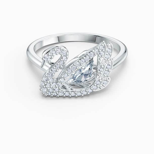 Dancing Swan Ring, White, Rhodium plated - Swarovski, 5534843