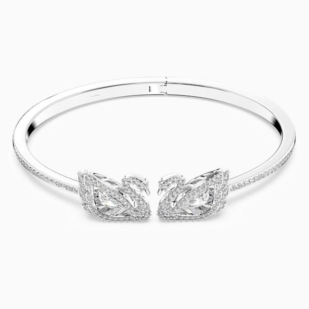 Brățară fixă Dancing Swan, albă, placată cu rodiu - Swarovski, 5534849