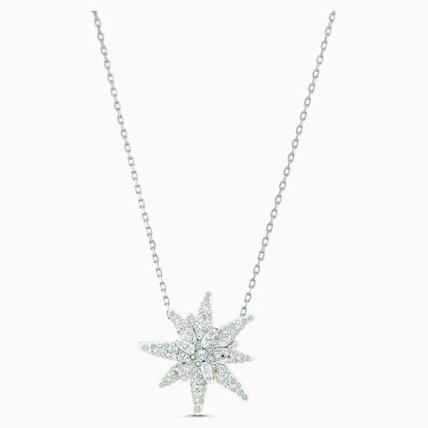 Edelweiss Pendant, Light multi-coloured, Rhodium plated - Swarovski, 5534887