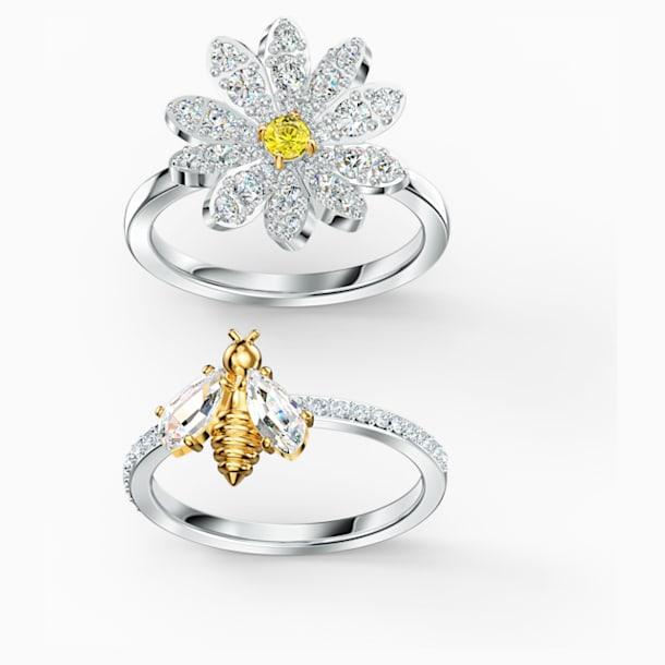 Conjunto de anillos Eternal Flower, amarillo, combinación de acabados metálicos - Swarovski, 5534935