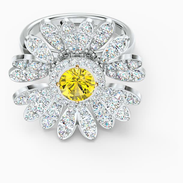 Eternal Flower 戒指, 黃色, 多種金屬潤飾 - Swarovski, 5534945