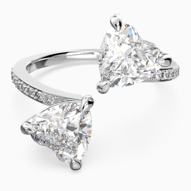 Attract Soul Heart gyűrű, fehér, ródium bevonattal - Swarovski, 5535192