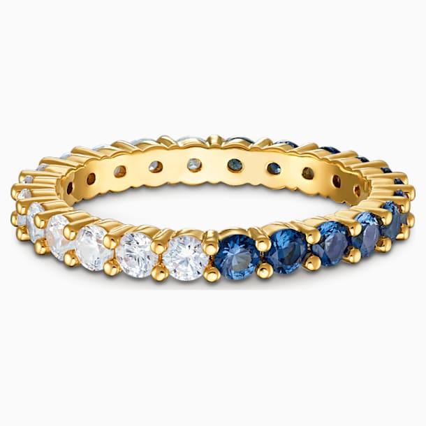 Vittore Half XL Кольцо, Синий Кристалл, Покрытие оттенка золота - Swarovski, 5535211