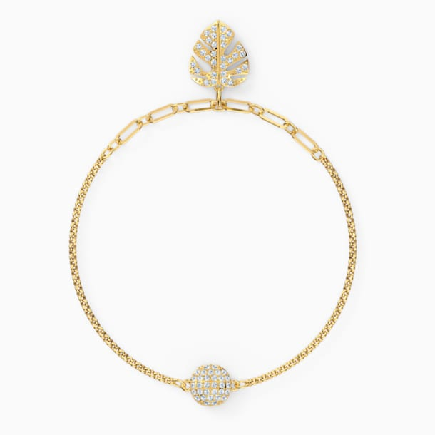 Strand Swarovski Remix Collection Tropical Leaf, blanco, baño tono oro - Swarovski, 5535262