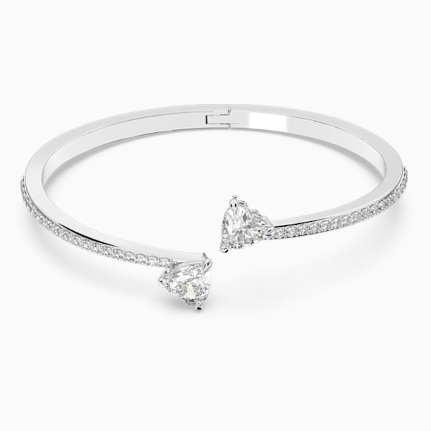 Attract Soul Heart Bangle, White, Rhodium plated - Swarovski, 5535354