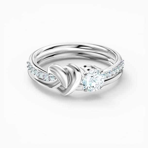 Prsten Lifelong Heart, bílý, rhodiovaný - Swarovski, 5535402