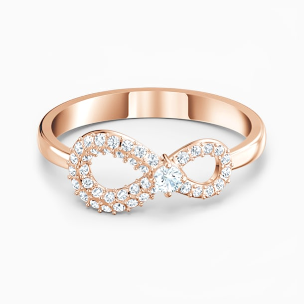Swarovski Infinity Ring, White, Rose-gold tone plated - Swarovski, 5535412