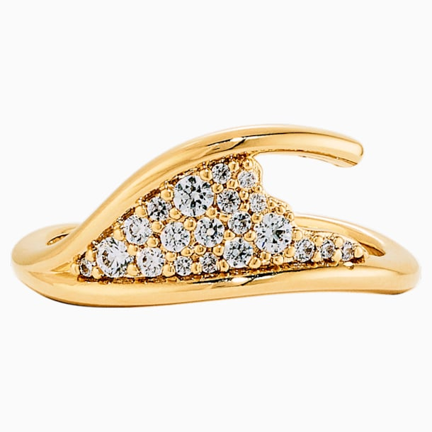 Gilded Treasures 簡單戒指, 白色, 鍍金色色調 - Swarovski, 5535423