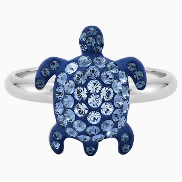 Mustique Sea Life Turtle Ring, Small, Blue, Palladium plated - Swarovski, 5535429
