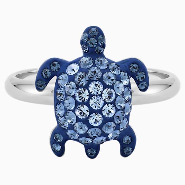 Mustique Sea Life Turtle Ring, Small, Blue, Palladium plated - Swarovski, 5535429