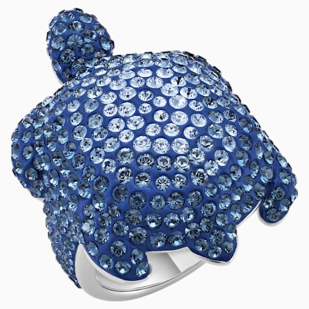 Mustique Sea Life Turtle Ring, Large, Blue, Palladium plated - Swarovski, 5535432
