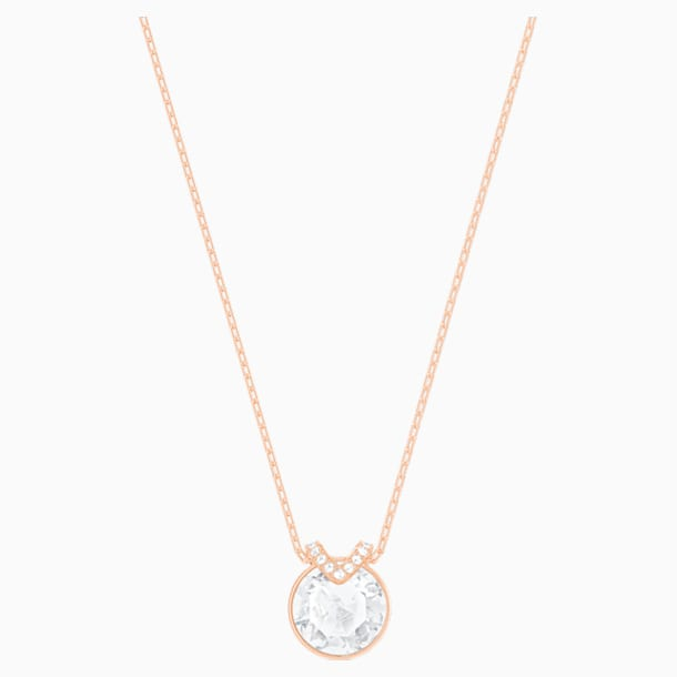 Bella V Pendant, White, Rose-gold tone plated - Swarovski, 5535528