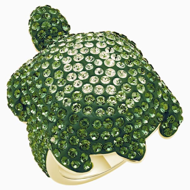 Mustique Sea Life Turtle Ring, Large, Green, Gold-tone plated - Swarovski, 5535552