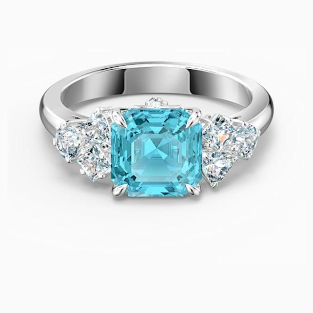 Sparkling Ring, Aqua, Rhodium plated - Swarovski, 5535592