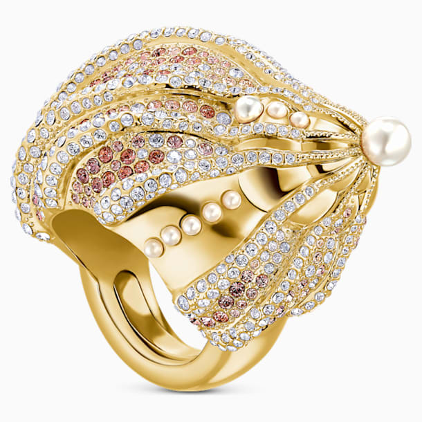 Sculptured Shells Ring, mehrfarbig hell, Metallmix - Swarovski, 5535678