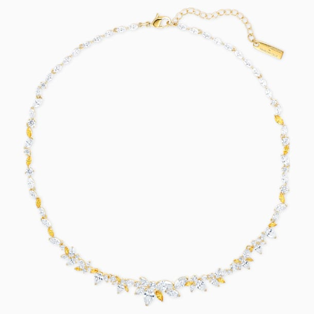 Botanical Necklace, White, Gold-tone plated - Swarovski, 5535775