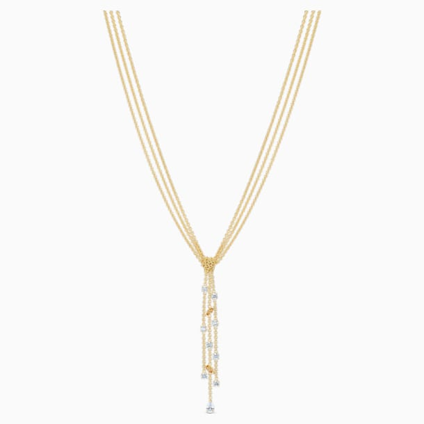 Botanical Y Necklace, White, Gold-tone plated - Swarovski, 5535779