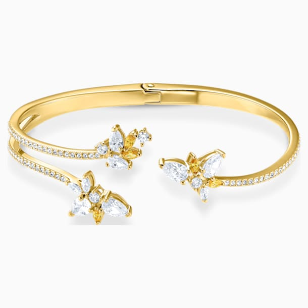Botanical Cuff, White, Gold-tone plated - Swarovski, 5535782