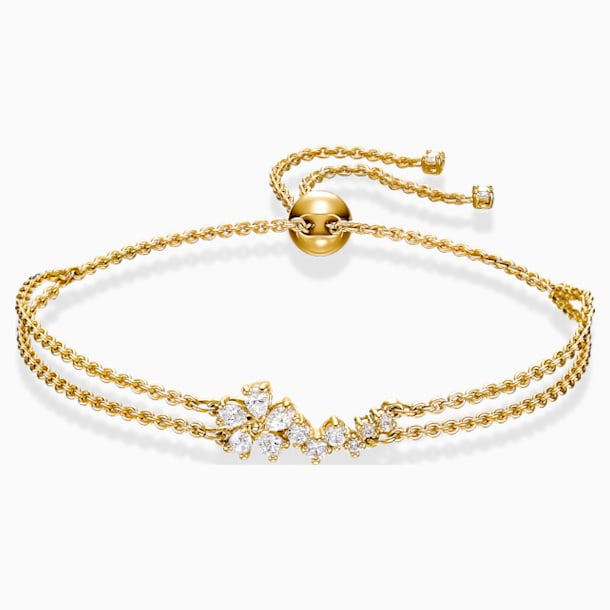 Botanical Bracelet, White, Gold-tone plated - Swarovski, 5535790