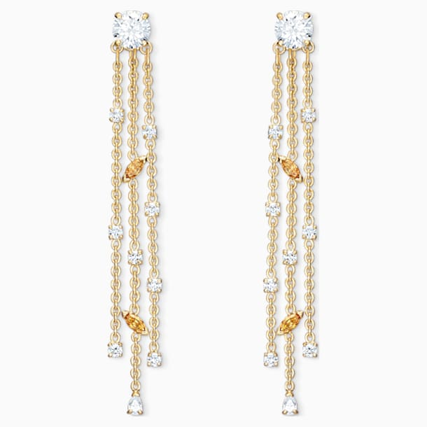 Botanical Tassel Pierced Earrings, White, Gold-tone plated - Swarovski, 5535791