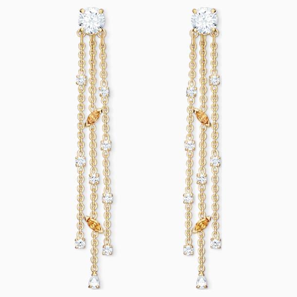 Botanical Tassel Pierced Earrings, White, Gold-tone plated - Swarovski, 5535791