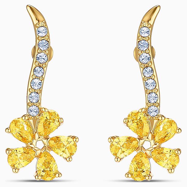 Botanical Flower Pierced Earrings, Yellow, Gold-tone plated - Swarovski, 5535796
