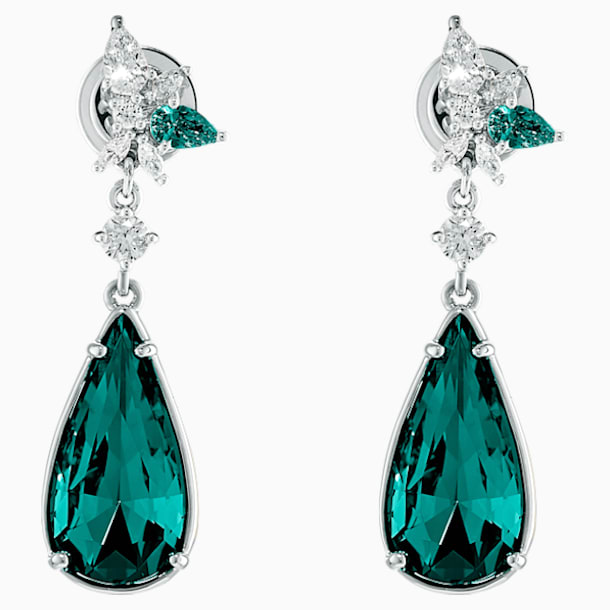 Botanical Pierced Earrings, Green, Rhodium Plated - Swarovski, 5535817
