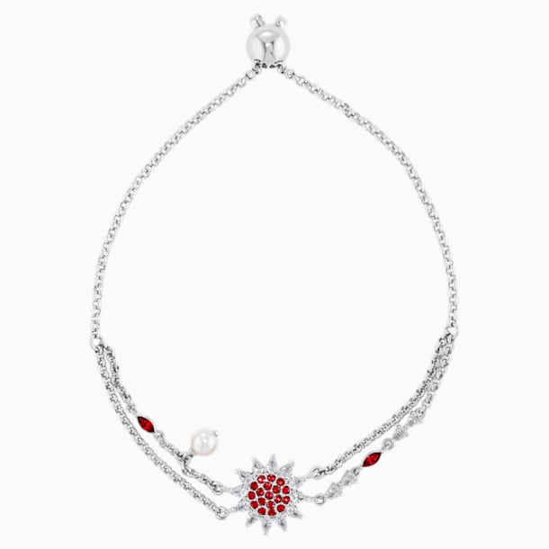 Botanical Bracelet, Red, Rhodium Plated - Swarovski, 5535818