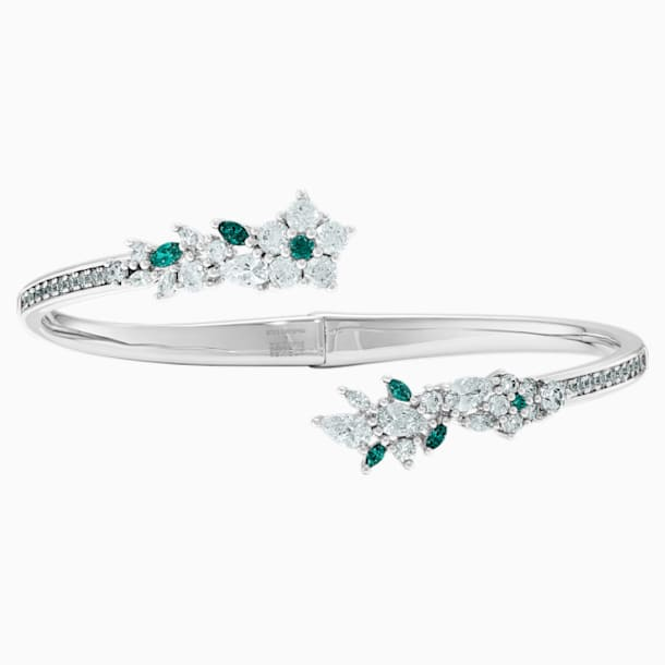 Botanical Bangle, Green, Rhodium Plated - Swarovski, 5535821