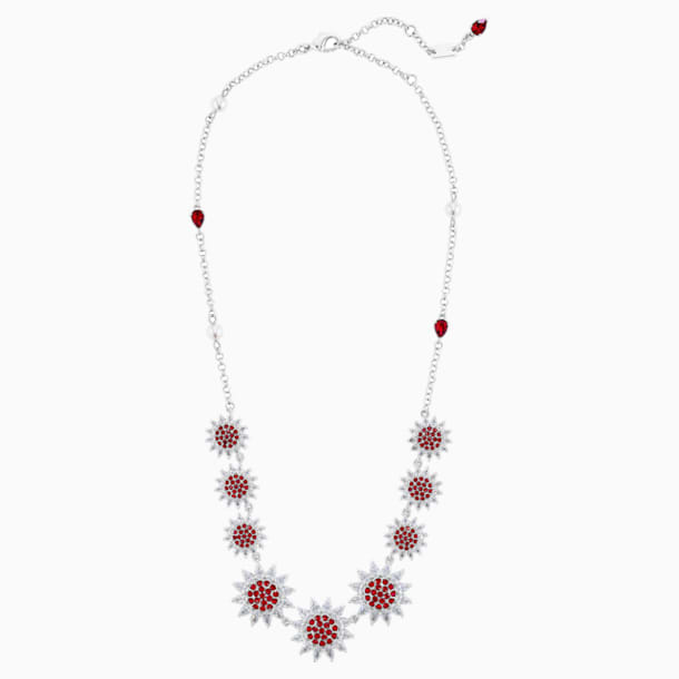 Botanical Necklace, Red, Rhodium Plated - Swarovski, 5535822