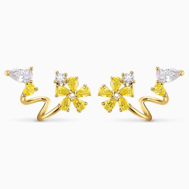 Brincos para orelhas furadas Botanical Wrap, amarelo, banhados a dourado - Swarovski, 5535828