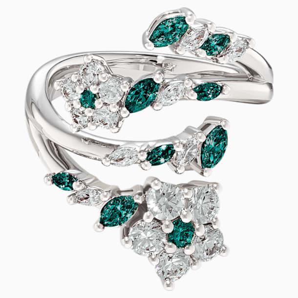 Botanical nyitott gyűrű, zöld, ródium bevonattal - Swarovski, 5535840