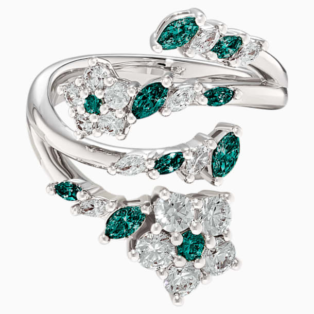 Botanical Open Ring, Green, Rhodium plated - Swarovski, 5535841