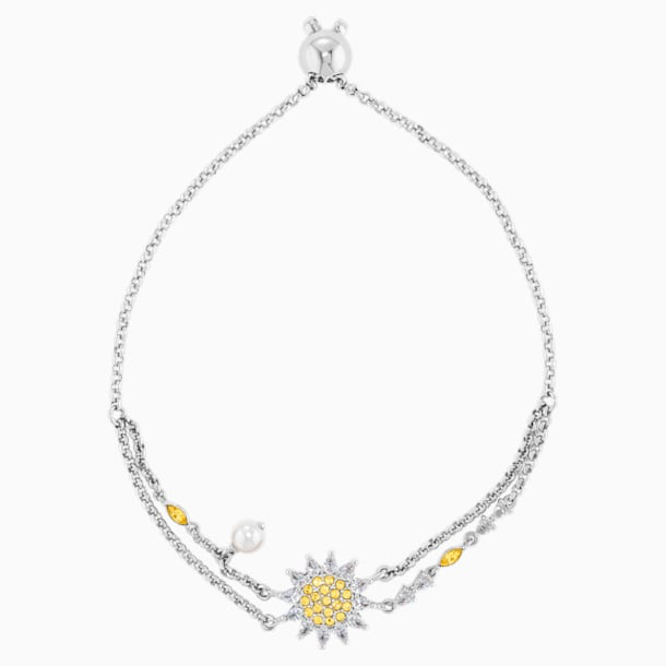 Botanical Bracelet, Yellow, Rhodium Plated - Swarovski, 5535866