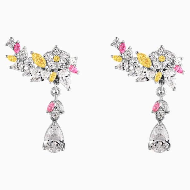 Botanical Pierced Earrings, Light multi-coloured, Rhodium plated - Swarovski, 5535867