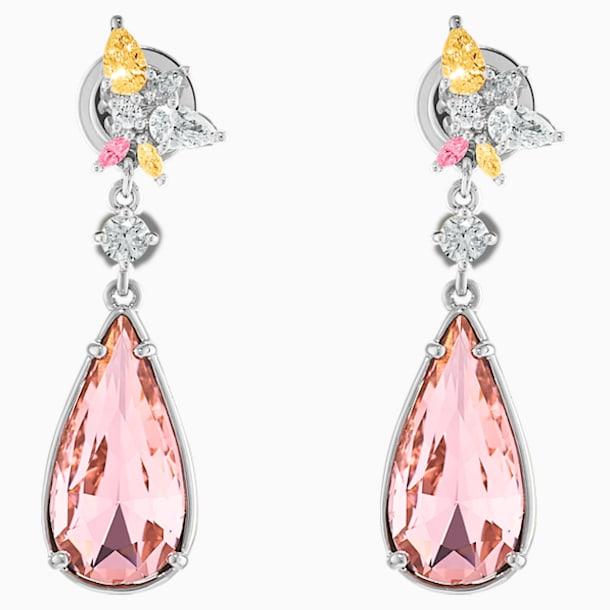 Botanical Pierced Earrings, Pink, Rhodium plated - Swarovski, 5535869