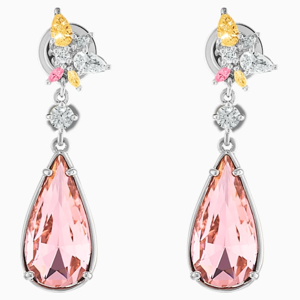 Botanical Pierced Earrings, Pink, Rhodium Plated - Swarovski, 5535869