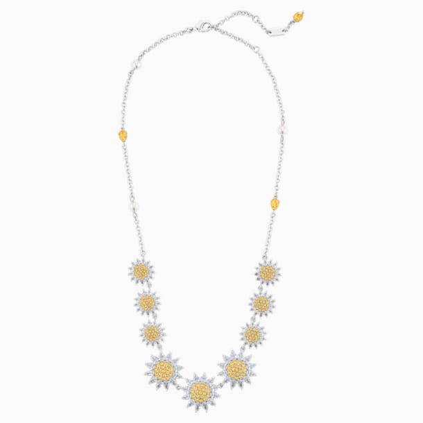 Botanical Necklace, Yellow, Rhodium Plated - Swarovski, 5535874