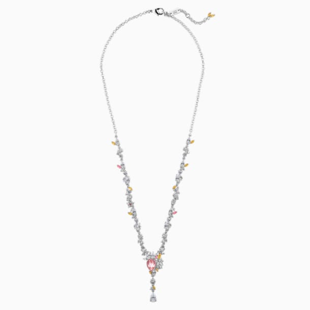 Botanical Necklace, Light multi-coloured, Rhodium plated - Swarovski, 5535875