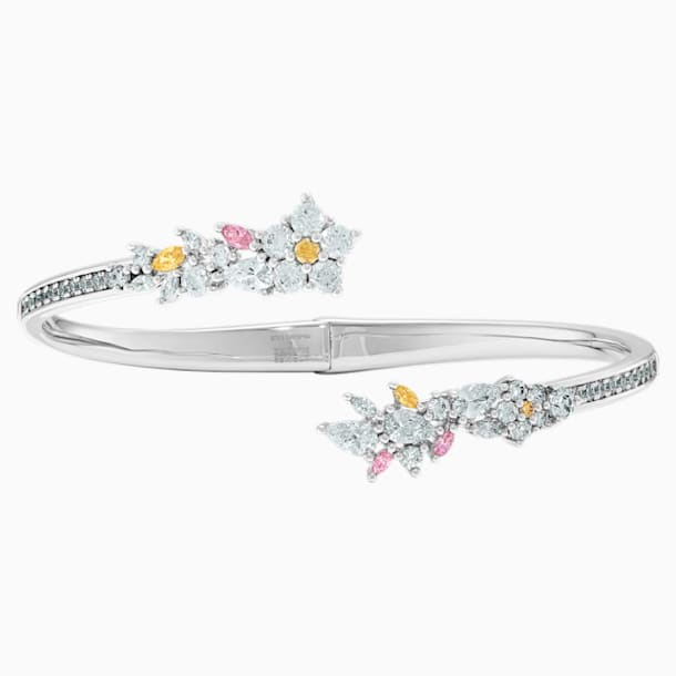 Botanical Bangle, Light multi-coloured, Rhodium plated - Swarovski, 5535877