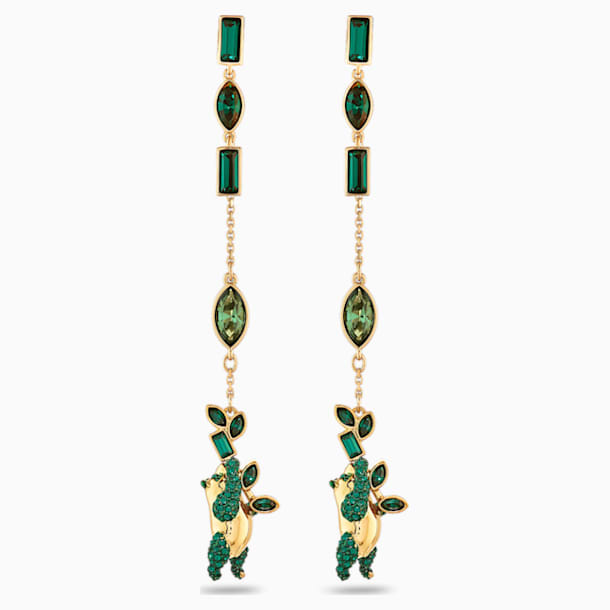 Beautiful Earth by Susan Rockefeller Pierced Earrings, Panda, Green, Gold-tone plated - Swarovski, 5535886